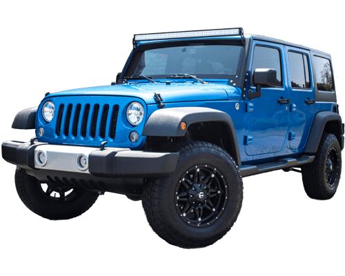 blue custom Jeep lightbar